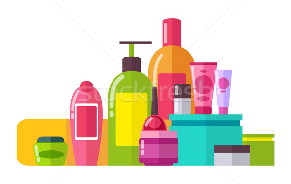 Tubes and Lotions Poster Set Vector Illustration Stock photo © robuart