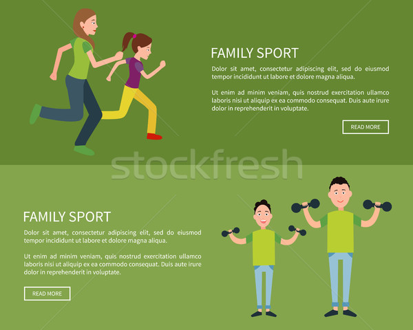 Family Posters Set Push Button Read More Vector Stock photo © robuart