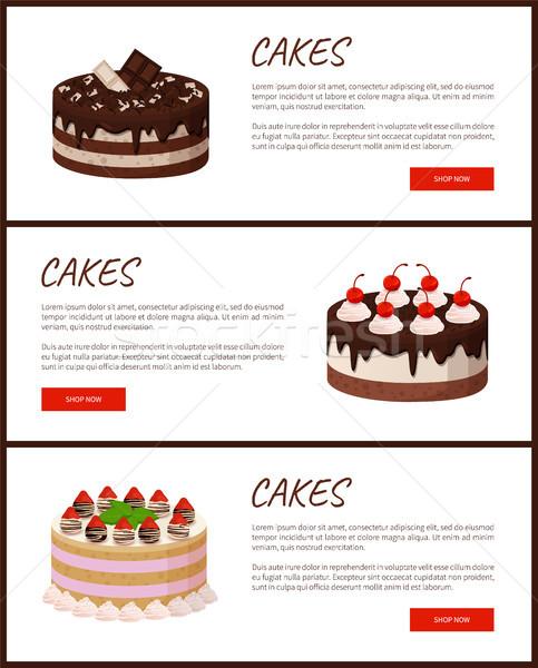 Torták választék oldal online bolt finom Stock fotó © robuart