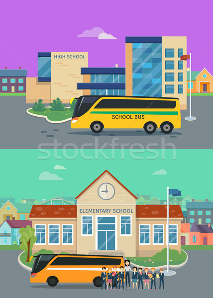 Elementary and High School Flat Vector Concepts Stock photo © robuart