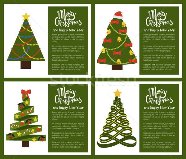 Neşeli Noel happy new year poster ağaç ayarlamak Stok fotoğraf © robuart