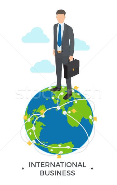 Internationale bedrijfsleven man permanente icon wereldbol beneden Stockfoto © robuart