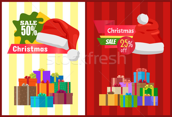 Discount Christmas Sale Poster Santa Claus Hat Box Stock photo © robuart