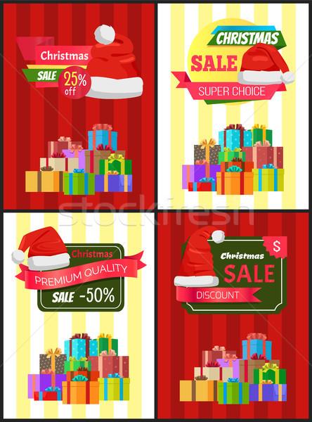Christmas verkoop poster aanwezig promo label Stockfoto © robuart