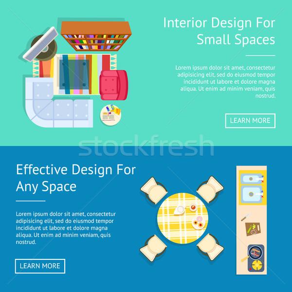Interior Design, Small Spaces Vector Illustration Stock photo © robuart