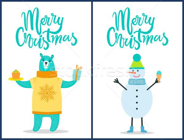 Heiter Weihnachten hellen Plakate Glückwunsch weiß Stock foto © robuart