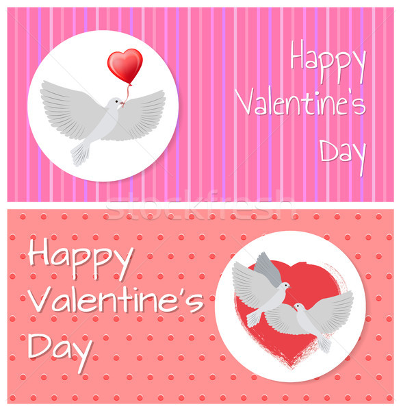 Stock photo: Happy Valentines Day Banners Doves Fly Peacefully