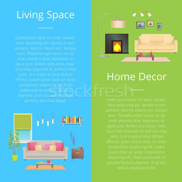 élet űr lakberendezés szett plakátok szöveg Stock fotó © robuart