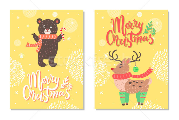 Merry Christmas Postcard with Cute Deer Profile Stock photo © robuart