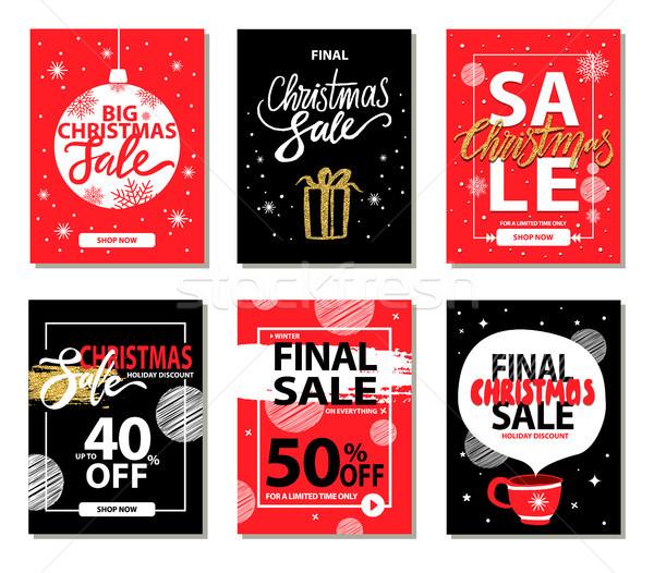 Finale christmas verkoop Rood zwarte posters Stockfoto © robuart