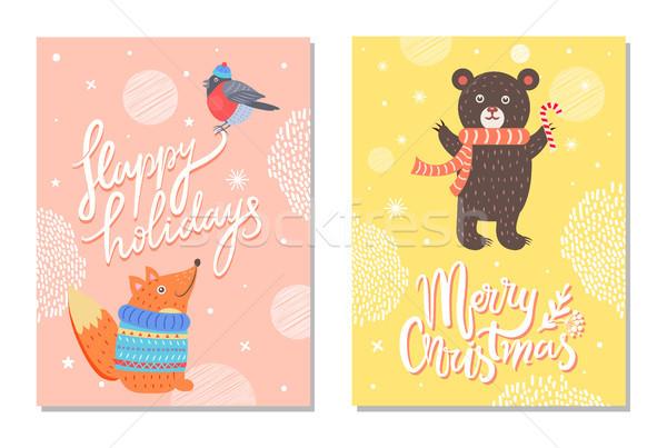 Boldog ünnepek üdvözlet kártyák mókus medve Stock fotó © robuart