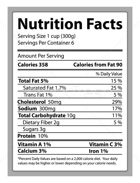 Nutrition Facts Paper and Info Vector Illustration Stock photo © robuart