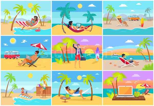Munka laptopok trópusi szabadúszó munkások homokos tengerpart Stock fotó © robuart