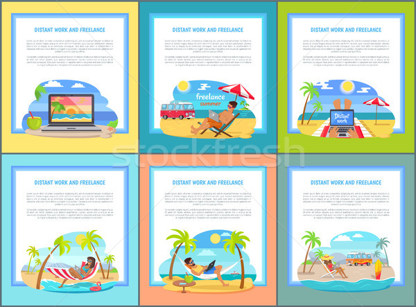 Distant Work and Freelance Set Web Posters People Stock photo © robuart