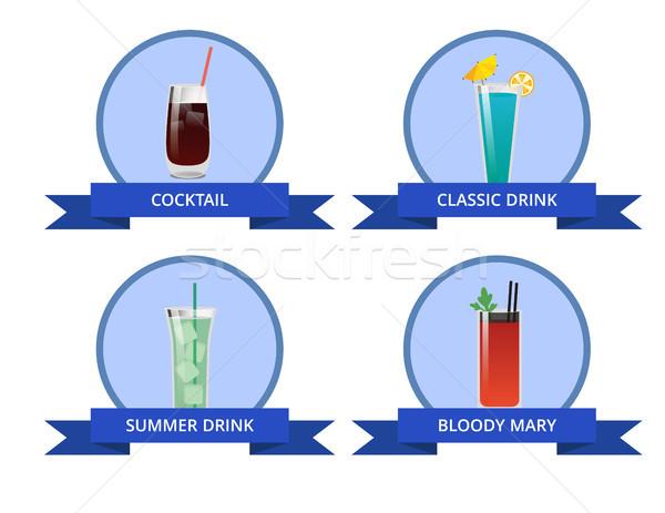 Coquetel clássico beber sangrento brilhante cartão Foto stock © robuart