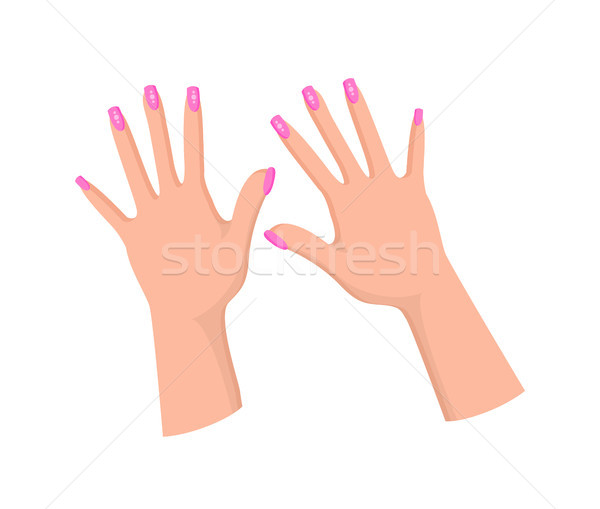 Hands with Feminine Pink Manicure with Rhinestones Stock photo © robuart
