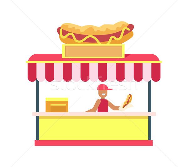 Hotdog áll színes kártya izolált fehér Stock fotó © robuart