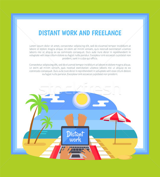 Distant Work and Freelance Poster Freelancer Legs Stock photo © robuart