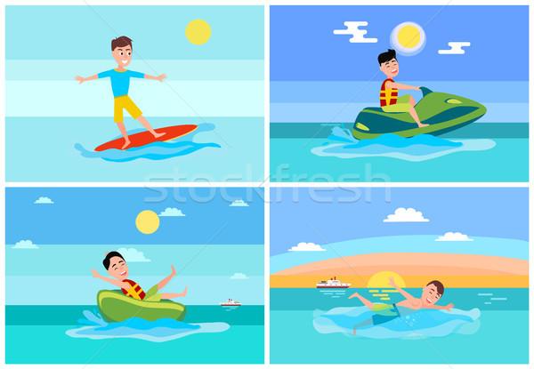 Surfing Summer Sport, Set Vector Illustration Stock photo © robuart