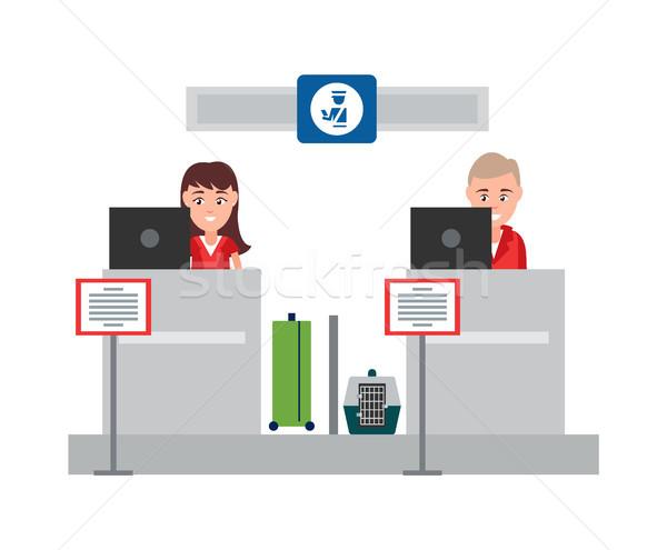 útlevél irányítás pult csomagok iratok emberek Stock fotó © robuart