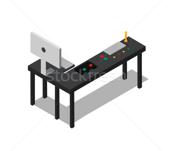 Table with Control Buttons Set and Power Computer Stock photo © robuart