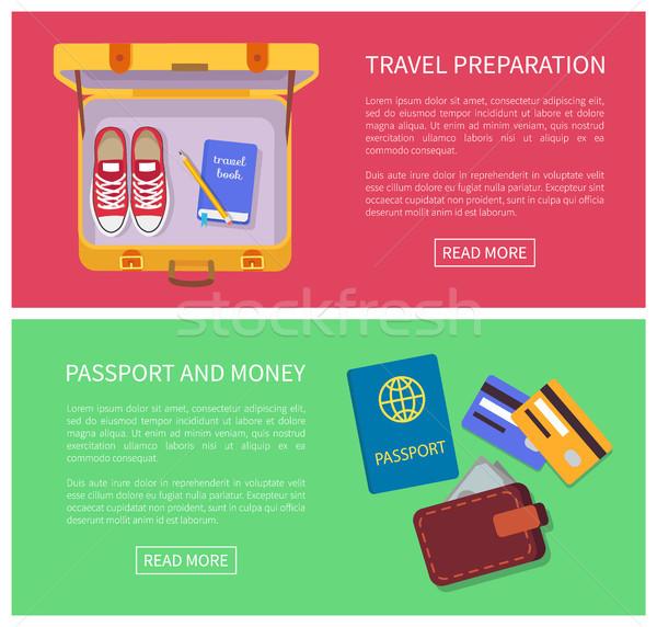 Foto d'archivio: Viaggio · preparazione · testo · campione · passaporto · soldi
