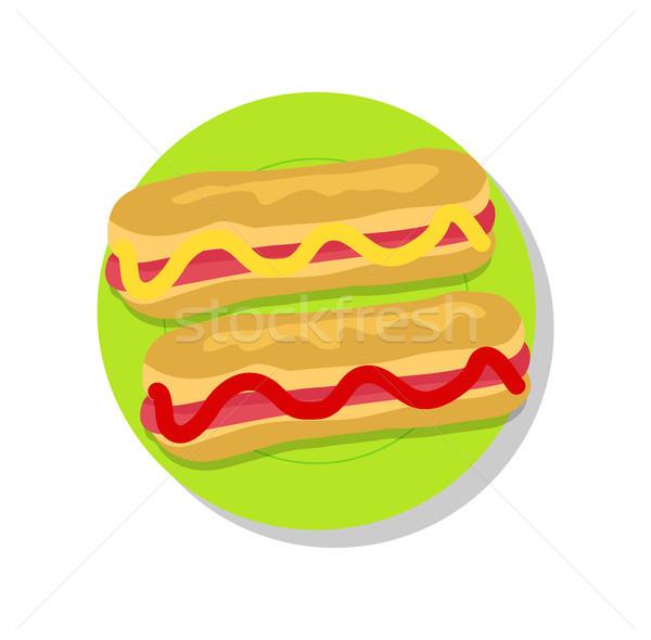Stok fotoğraf: çift · lezzetli · yalıtılmış · parlak · arka · plan · ketçap