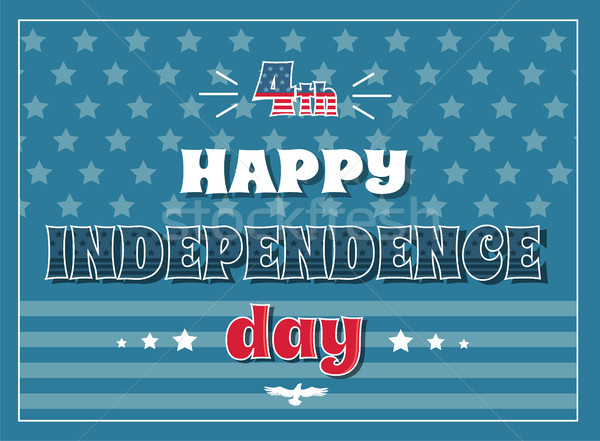 4 July Happy Independence Day Poster American Flag Stock photo © robuart