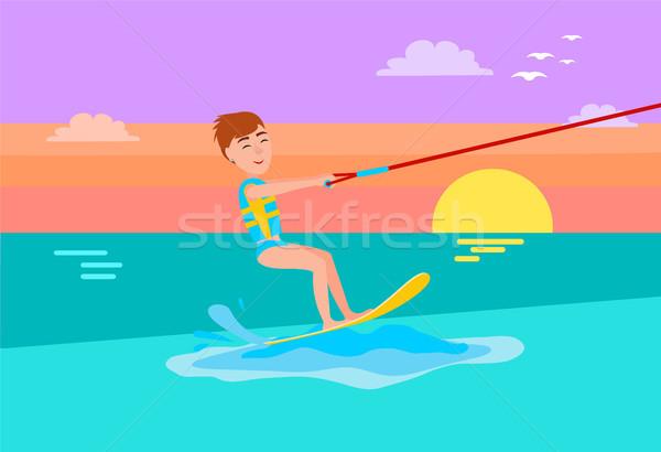 Kitesurfing Summer Sport Happy Boy, Smile on Face Stock photo © robuart