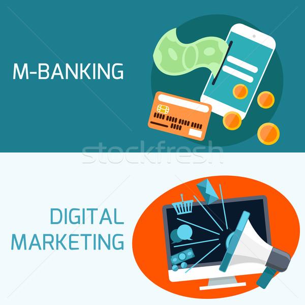 Hareketli bankacılık dijital pazarlama dizayn Stok fotoğraf © robuart