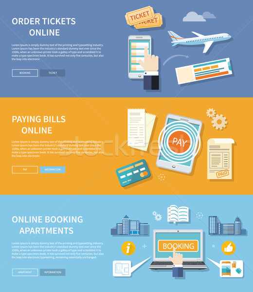 Pay Bills, Booking Apartments, Order Ticket Stock photo © robuart