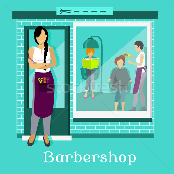 Barbershop Facade with Customers Stock photo © robuart
