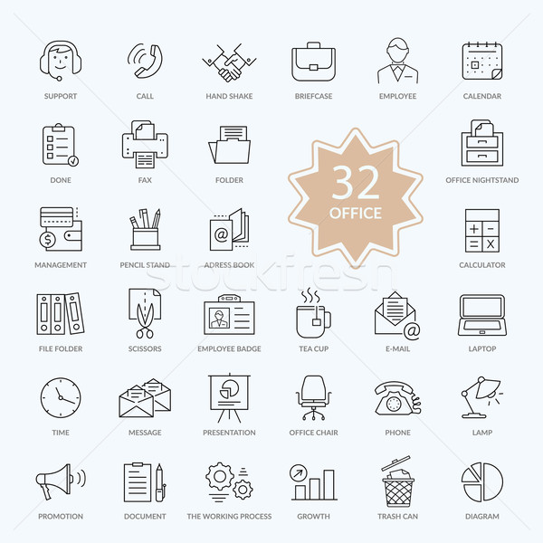 Set of Office Items Icons Stock photo © robuart