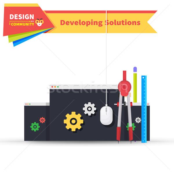 развивающийся решения дизайна программное развития икона Сток-фото © robuart