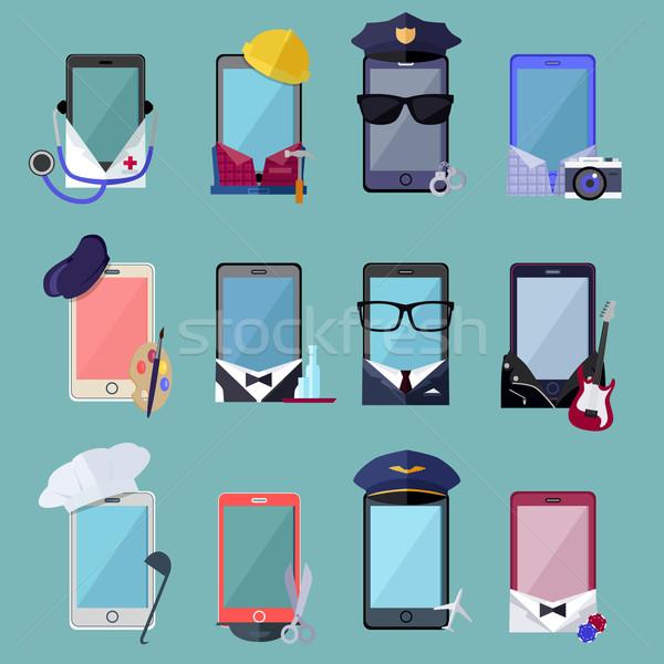 Costume différent professions ensemble mobiles Photo stock © robuart