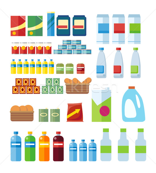 Big Set of Store Products in Flat Stock photo © robuart