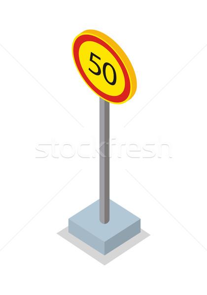 ötven által óra sebességhatár felirat közlekedési tábla Stock fotó © robuart
