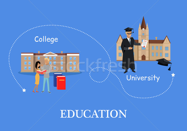 Education in College and University. Buildings Isolated Stock photo © robuart