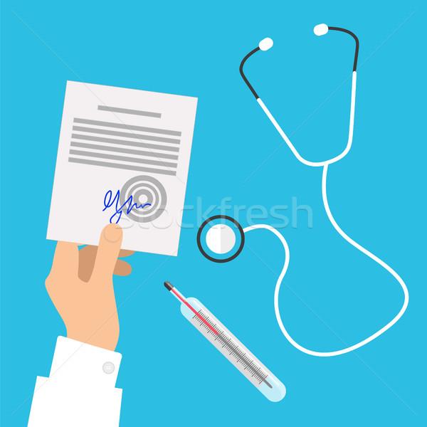 Foto stock: Médicos · estetoscopio · manos · prescripción · transparente