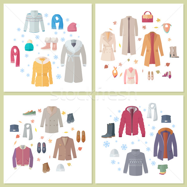 Outerwear Mens and Womens Set of Clothes Accessory Stock photo © robuart