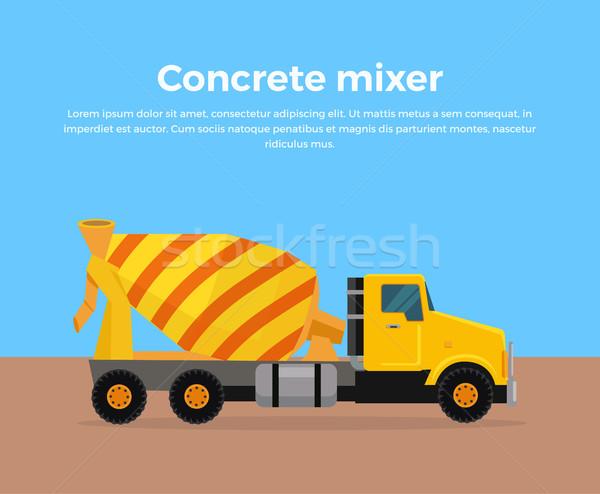 Cement Mixer Truck Banner Flat Design Vector Stock photo © robuart