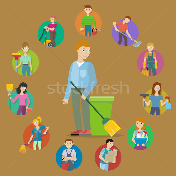 コレクション メンバー 洗浄 サービス スタッフ 男性 ストックフォト © robuart