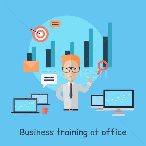Business opleiding kantoor banner geslaagd jonge man Stockfoto © robuart
