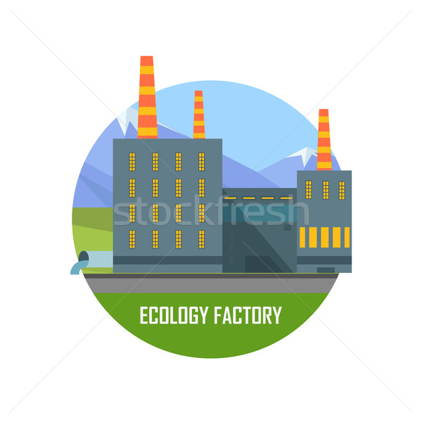 Ecology Factory. Eco Plant Icon in Flat Style. Stock photo © robuart
