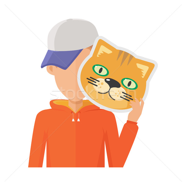 Man with Cat Mask Flat Design Vector Illustration Stock photo © robuart