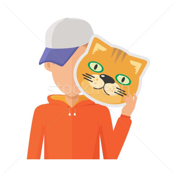 Homem gato máscara projeto menino Foto stock © robuart