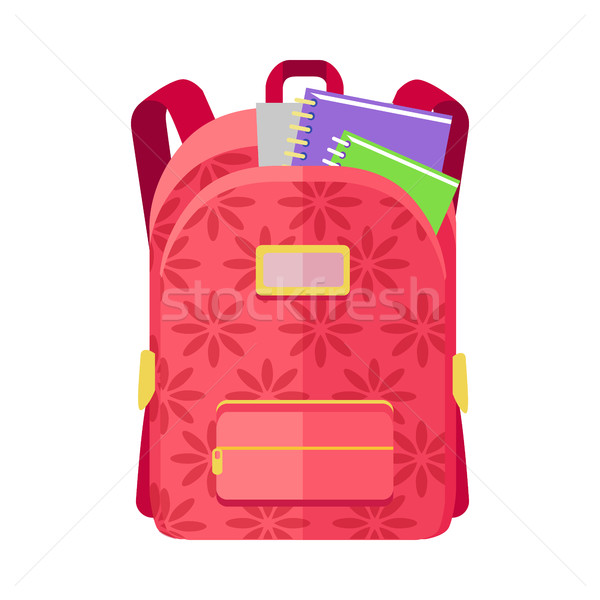 Backpack Schoolbag Icon with Notebook Ruler Stock photo © robuart