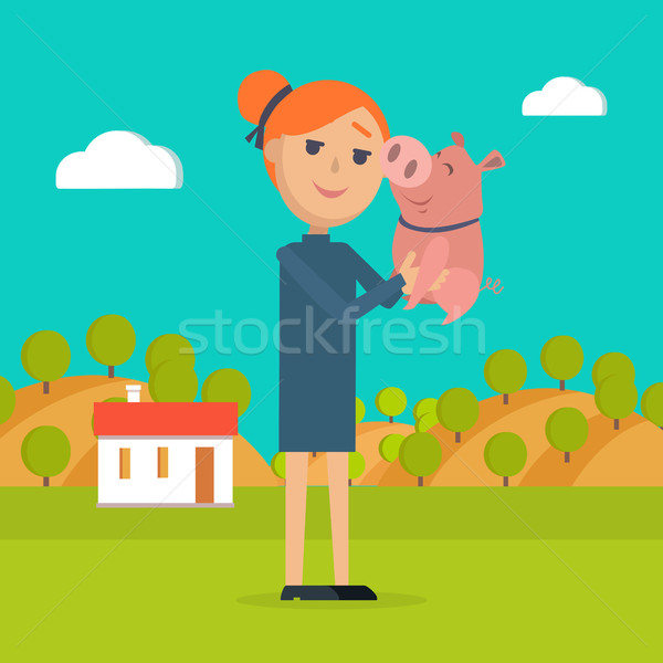 Woman Holds Pig in Hand Country Farm on Background Stock photo © robuart