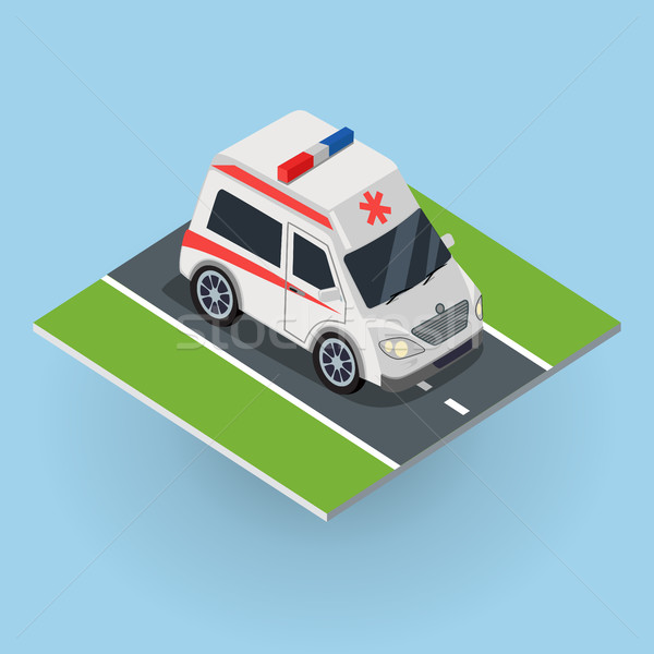 Ambulance Car on the Road. Top View Stock photo © robuart