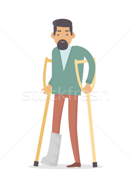 Homebody on Crutches with Broken Leg Isolated Stock photo © robuart